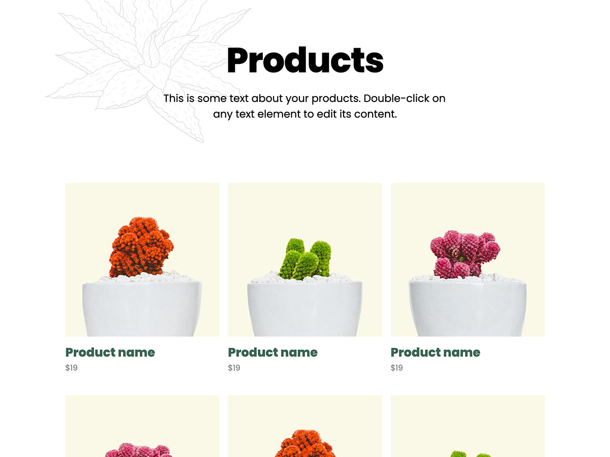 Sprout Makeswift business template products
