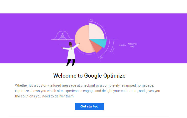 Welcome to Google Optimize screen