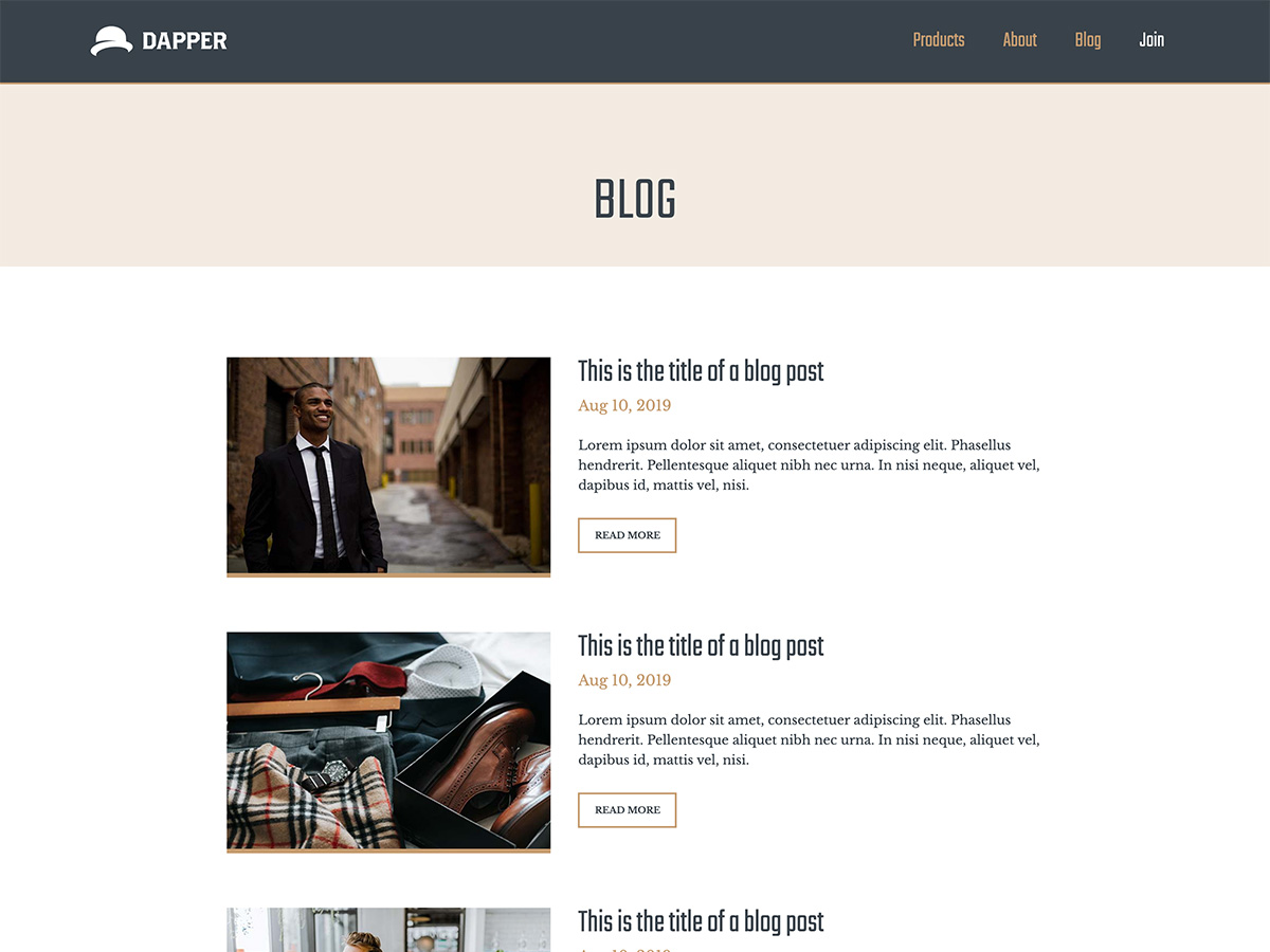 Makeswift Dapper template blog posts