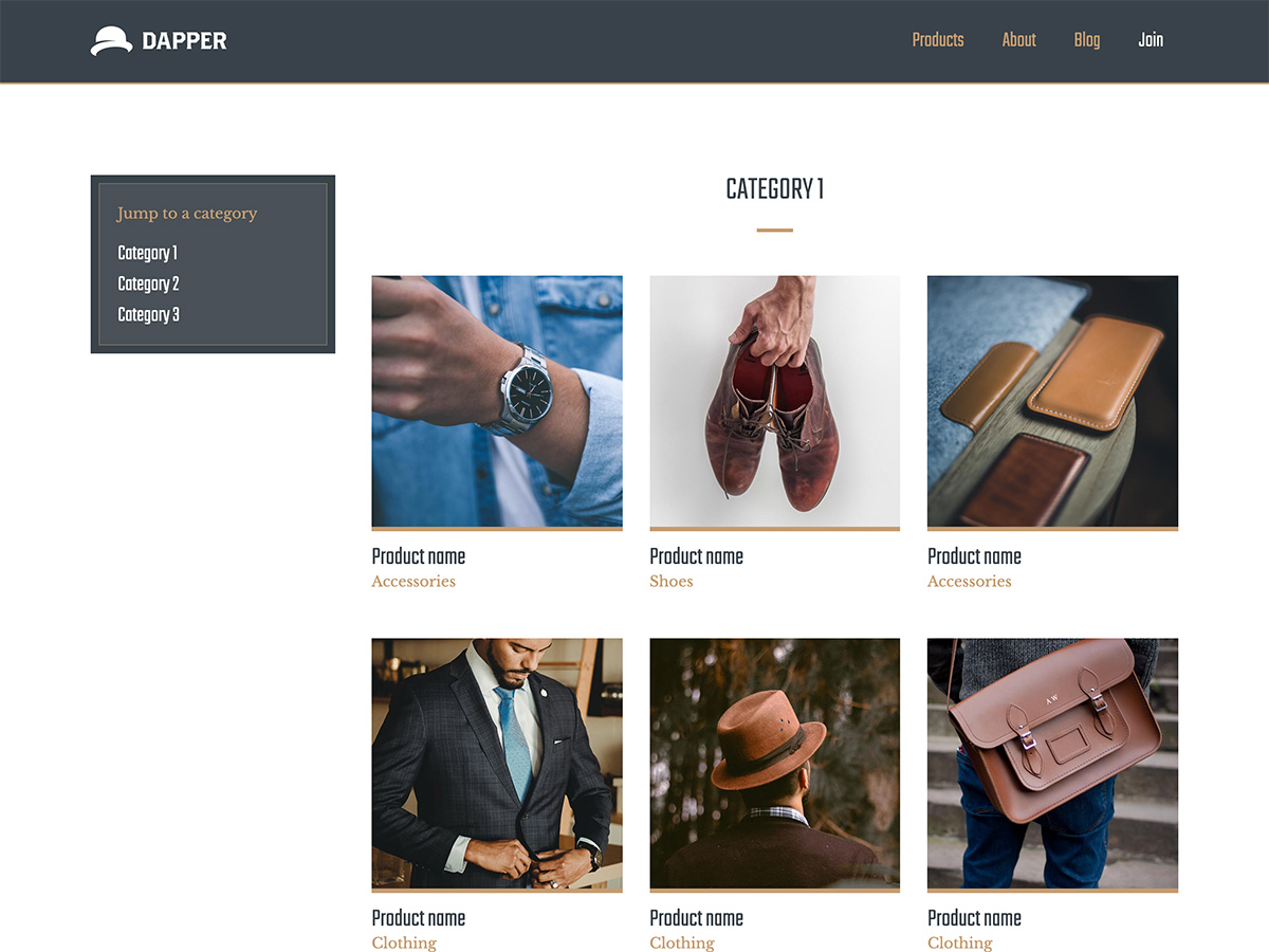 Makeswift Dapper template products