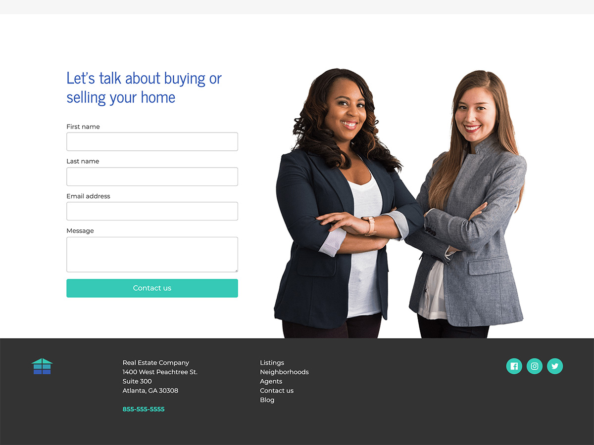 Makeswift Estate Real Estate template contact form
