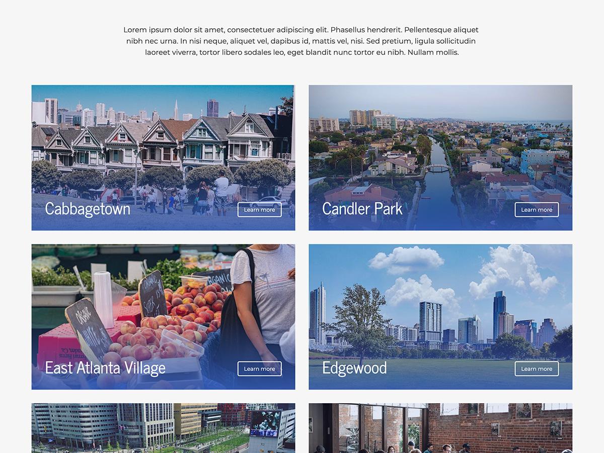 Makeswift Estate Real Estate template neighborhood list