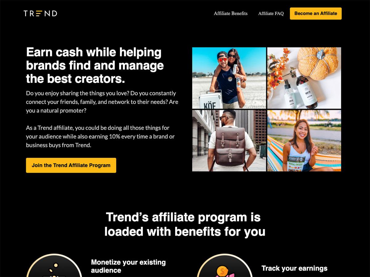 Trend.io Affiliate Landing Page