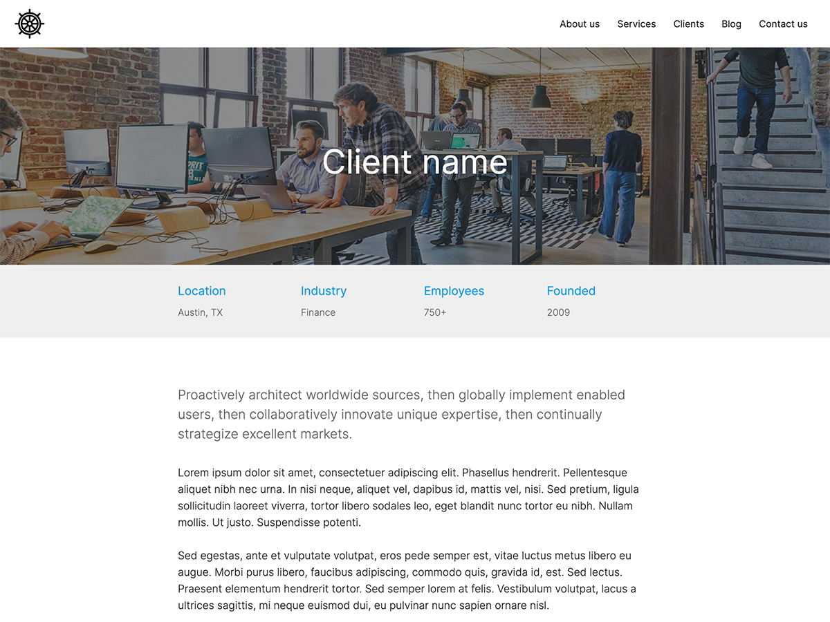 Benchmark Makeswift agency template case study details