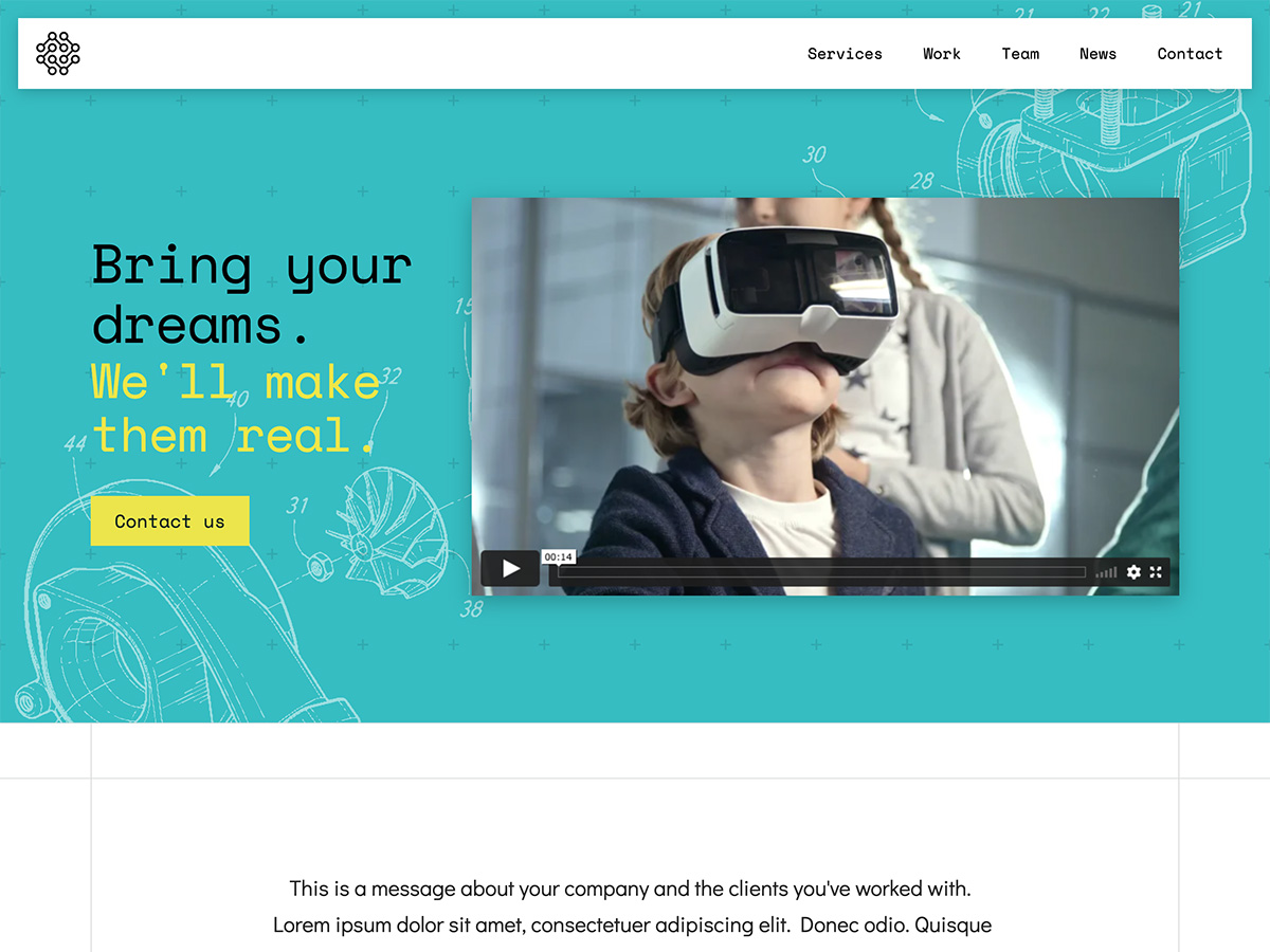 Makeswift Innovation business template home hero