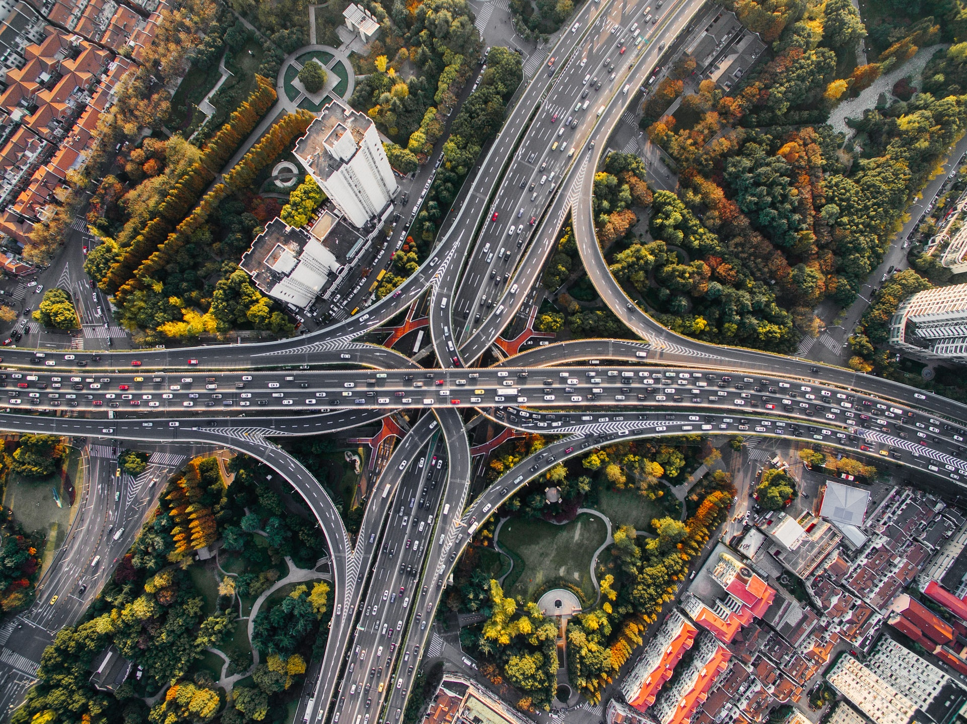 Aerial view of junction roads. Photo by Denys Nevozhai on Unsplash.