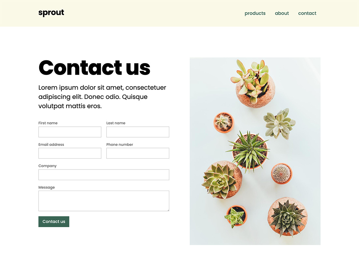 Sprout Makeswift business template contact form