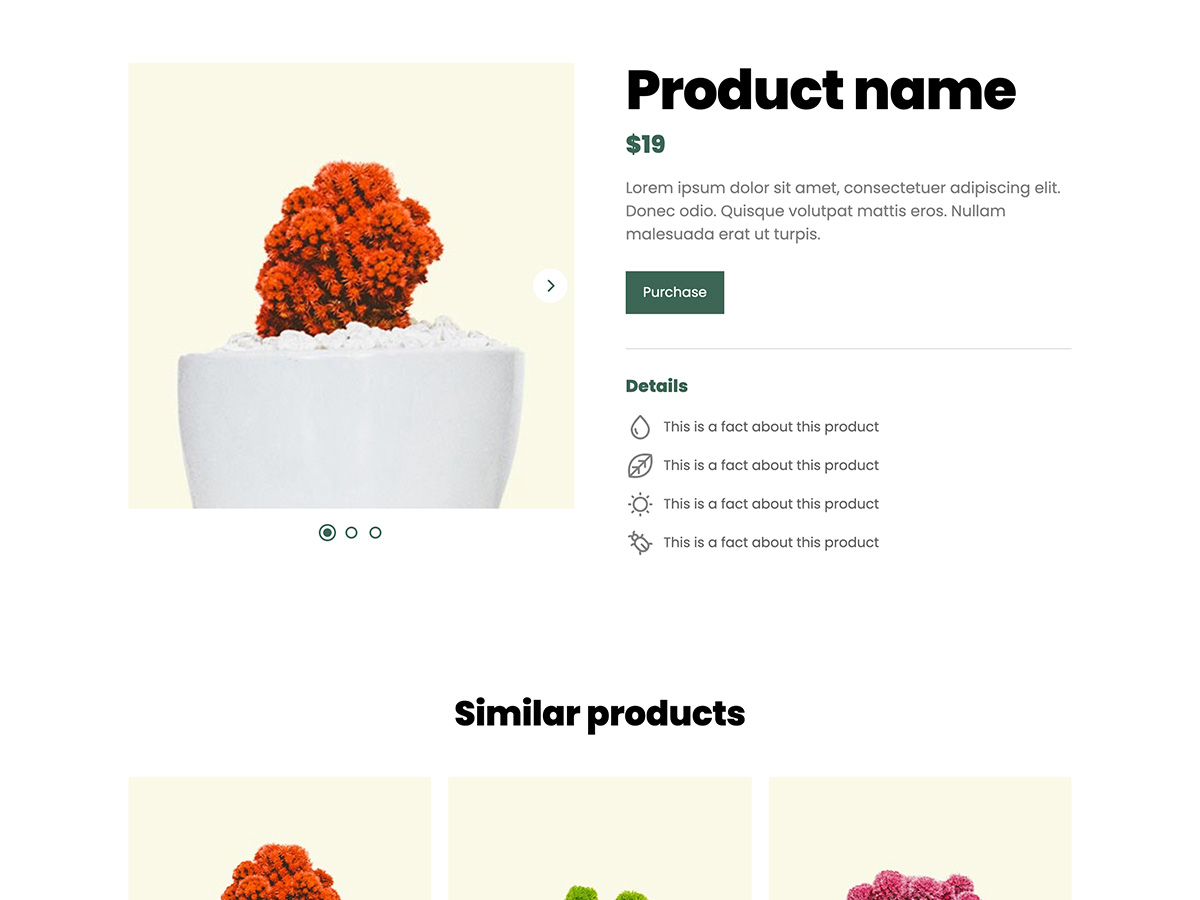 Sprout Makeswift business template product details