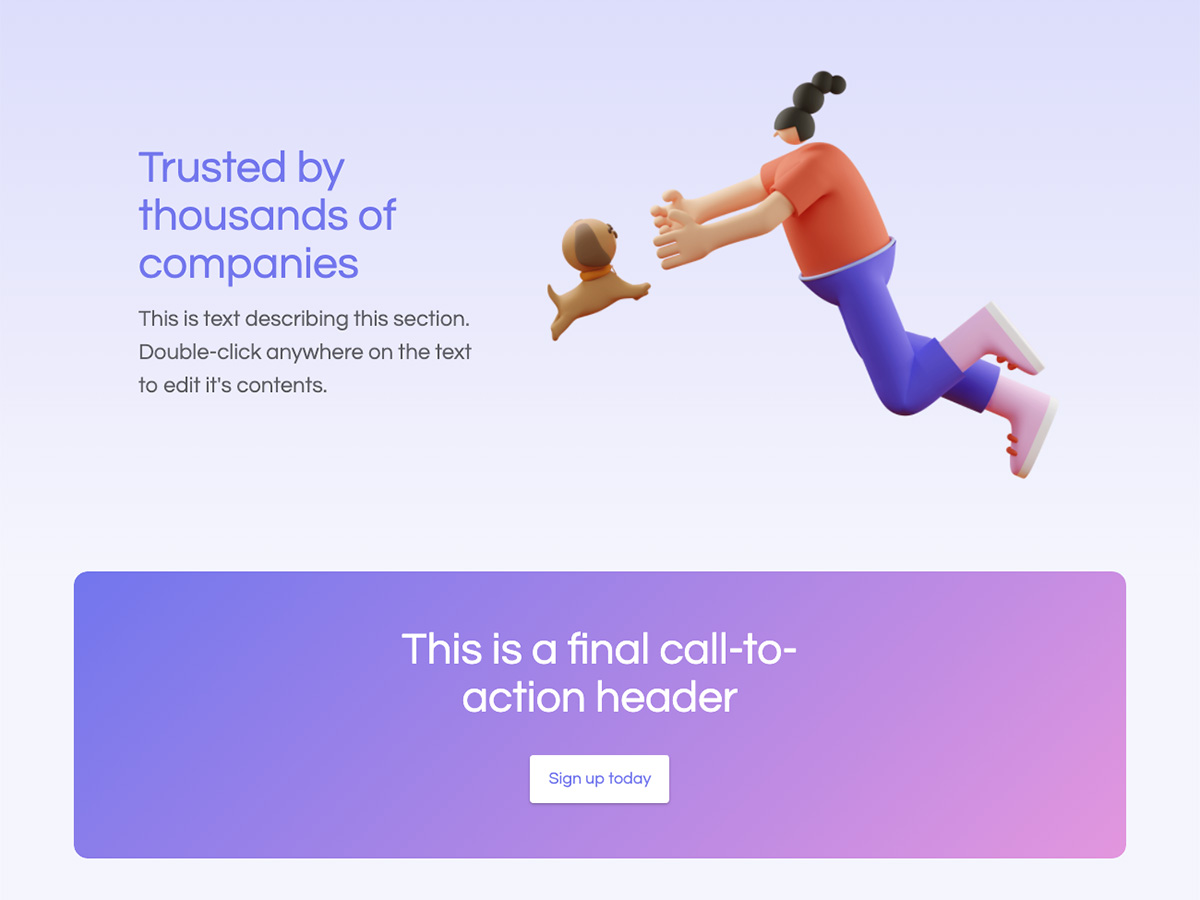 Polygon Makeswift startup template call to action