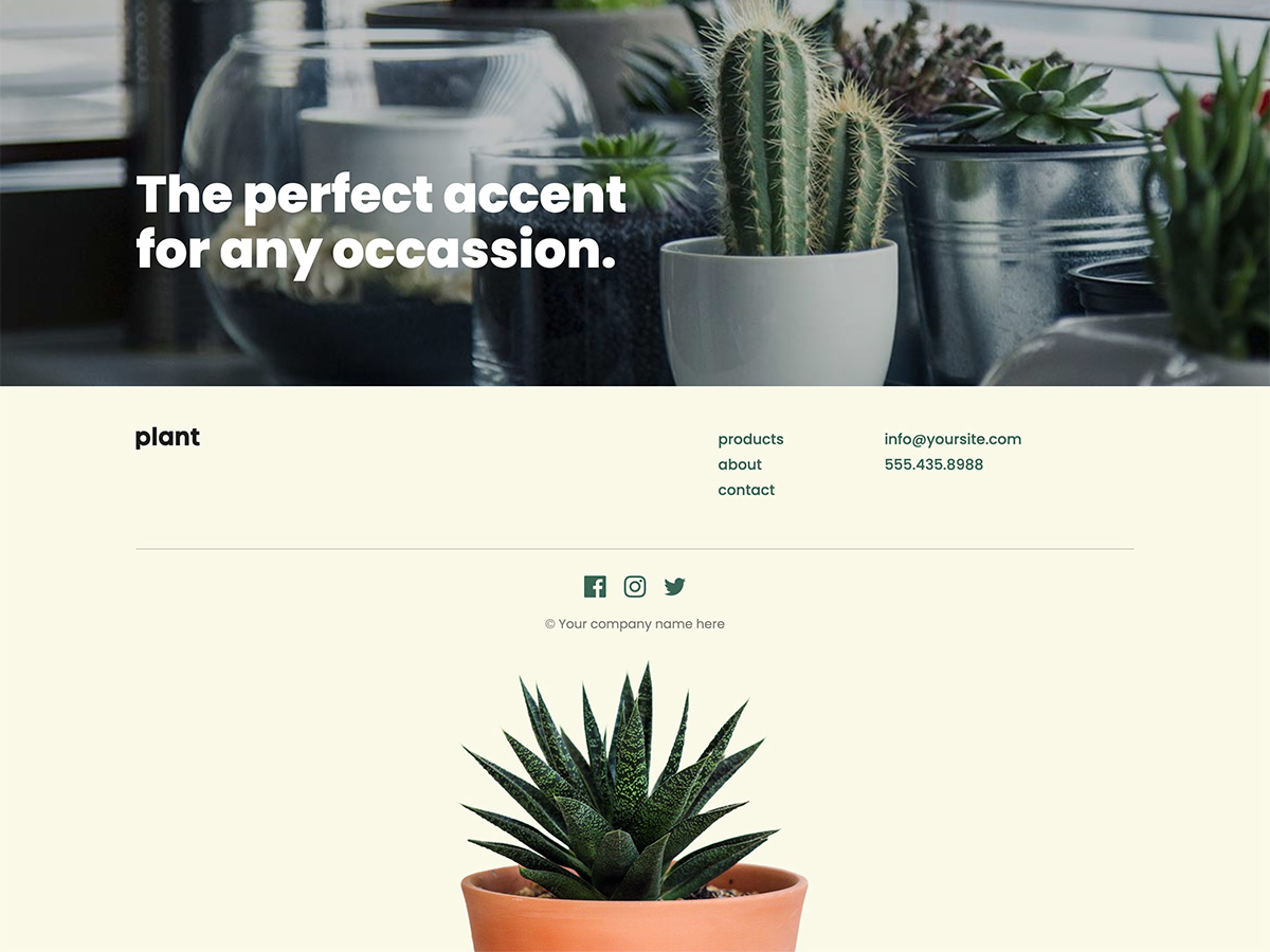 Sprout Makeswift business template home footer