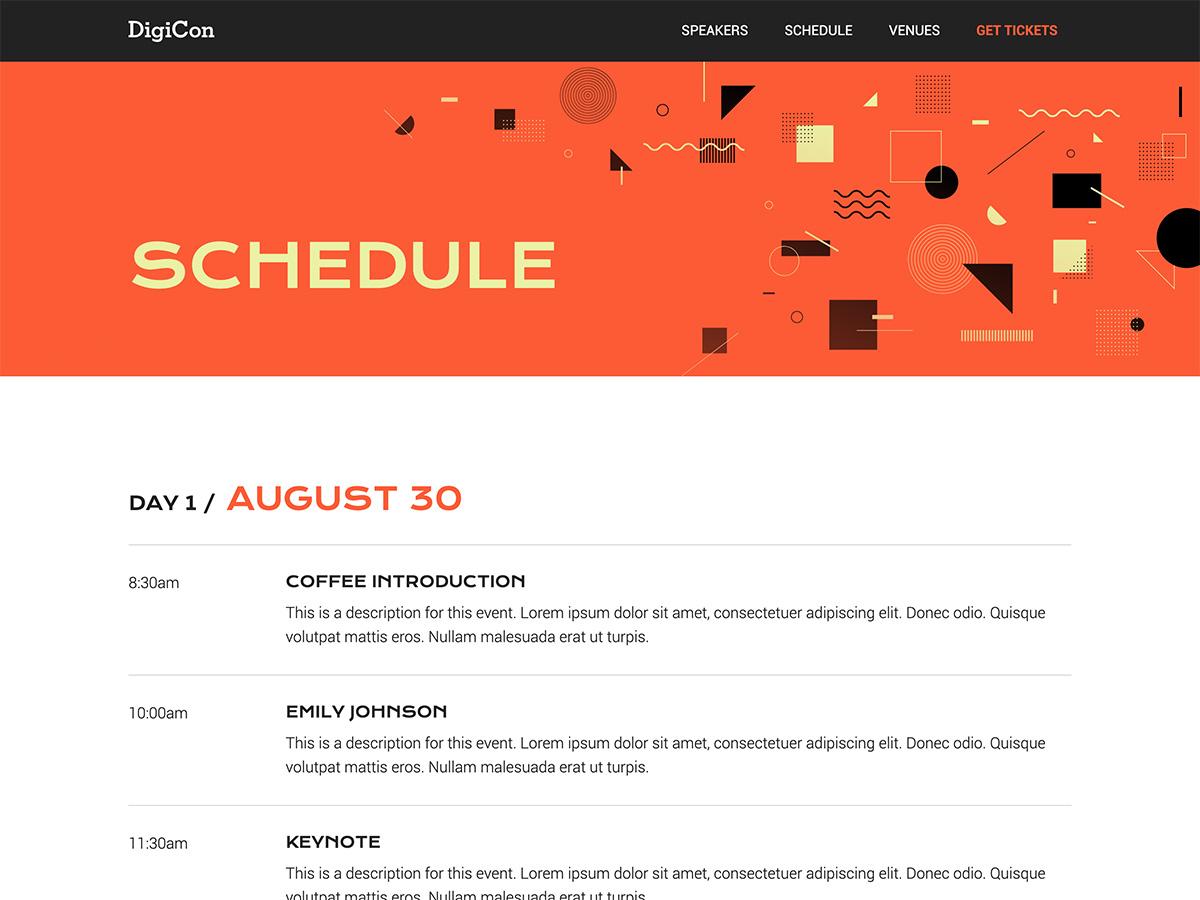 Makeswift Digicon template schedule