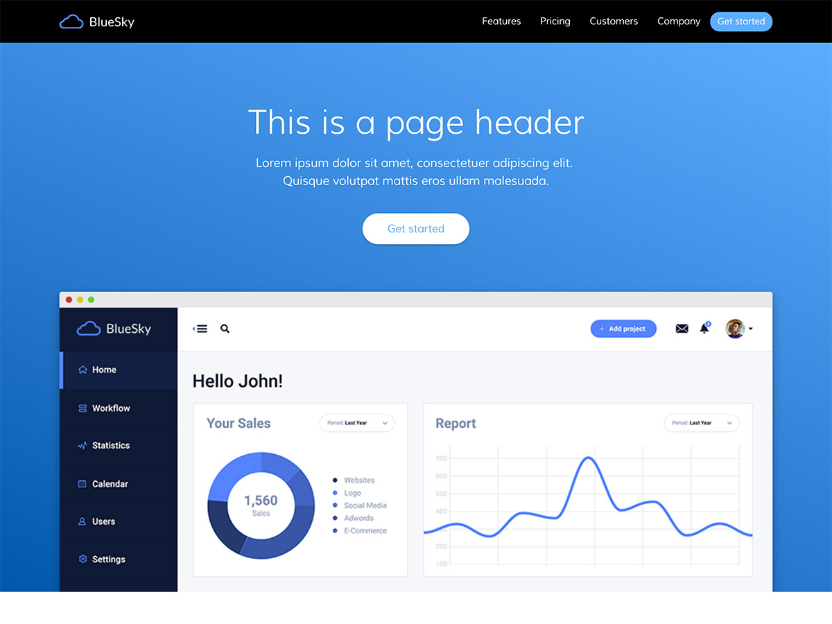 Blue Sky Makeswift startup template home hero
