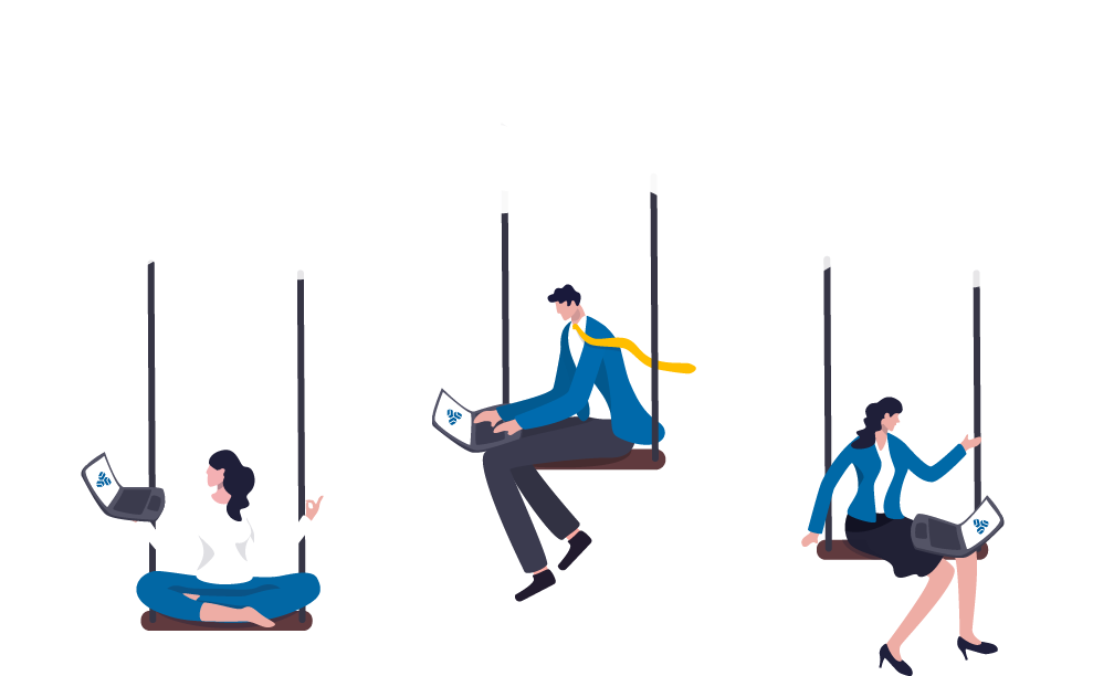 Illustration of 3 People working in the cloud