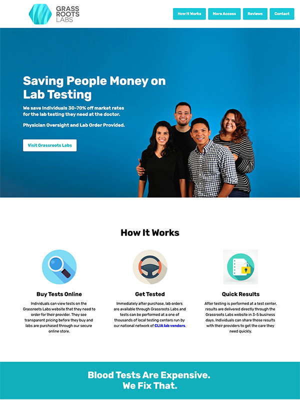 Grassroots Labs landing page