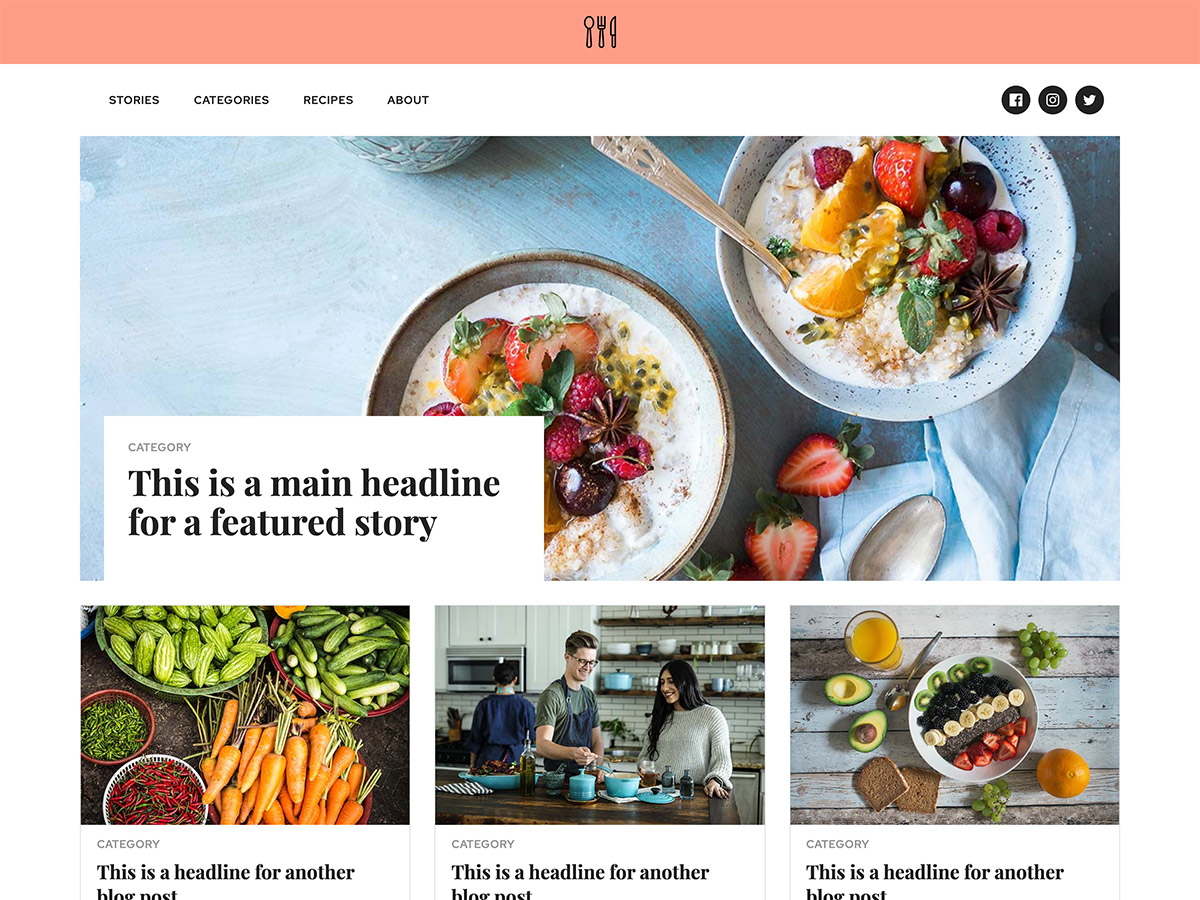 Foodie Makeswift business template home stories