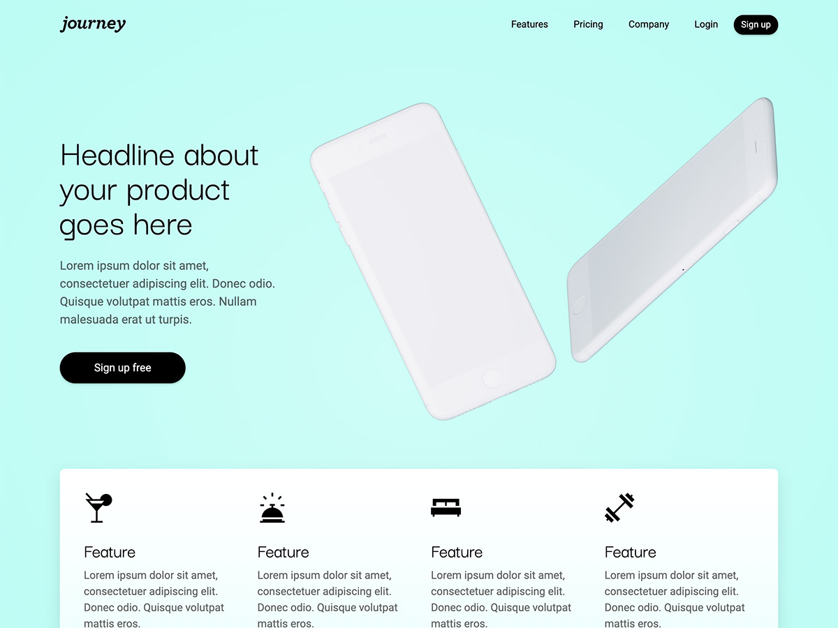 Journey Makeswift startup template home hero