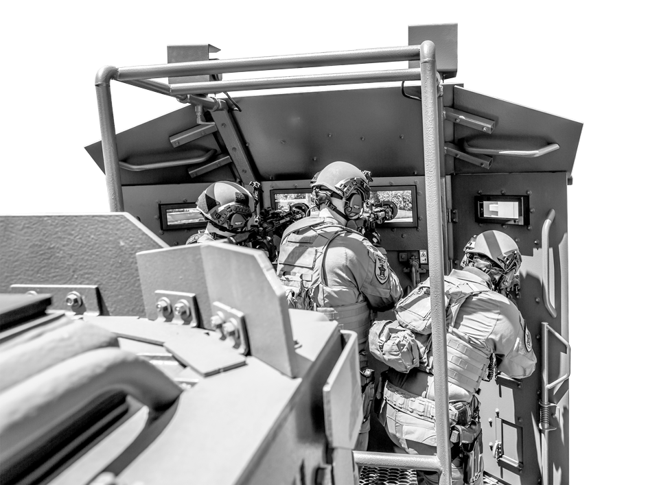 officers on the armored platform