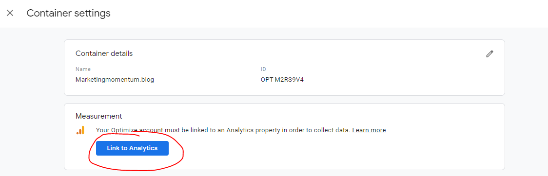 Link to Analytics button