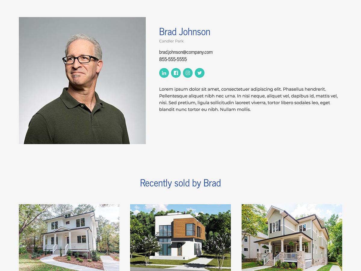 Makeswift Estate Real Estate template agent bio