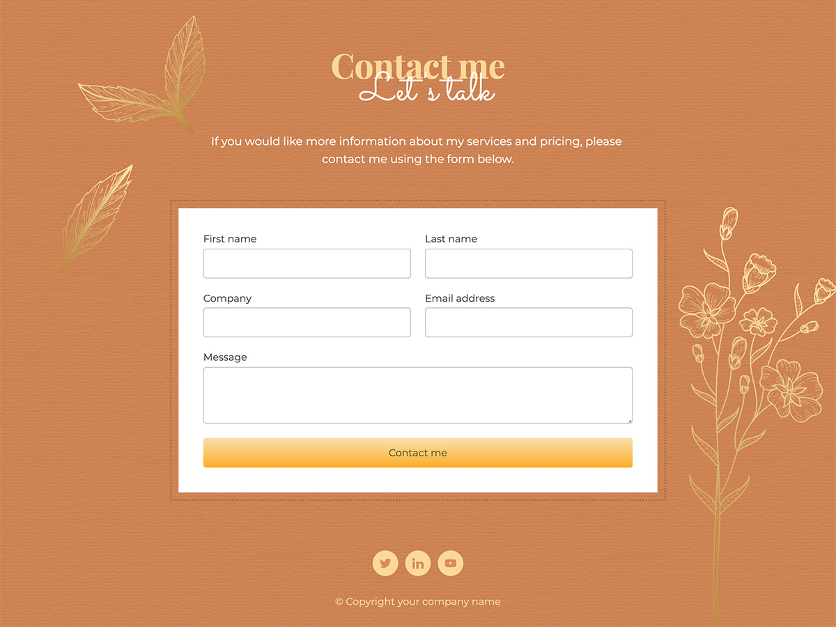Golden Makeswift personal template contact form