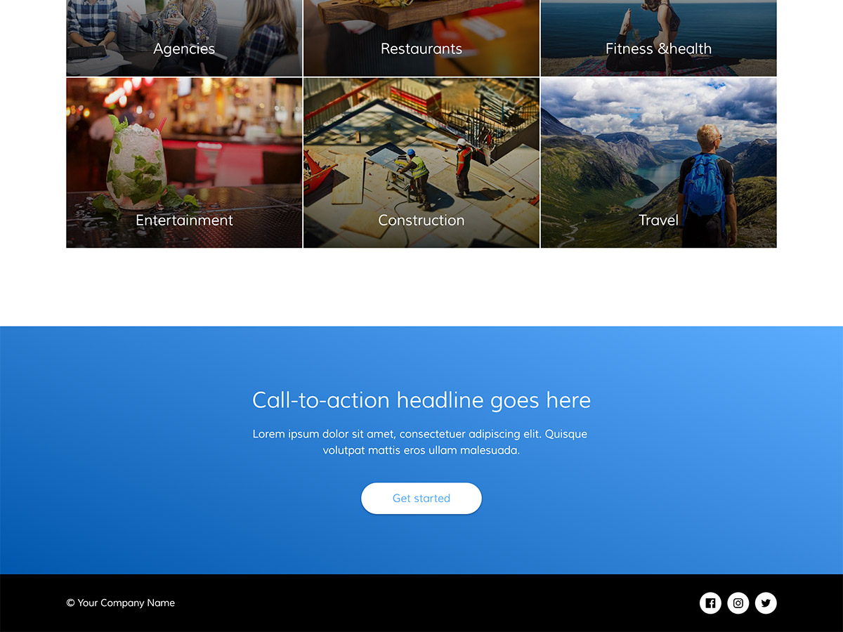 Blue Sky Makeswift startup template call to action