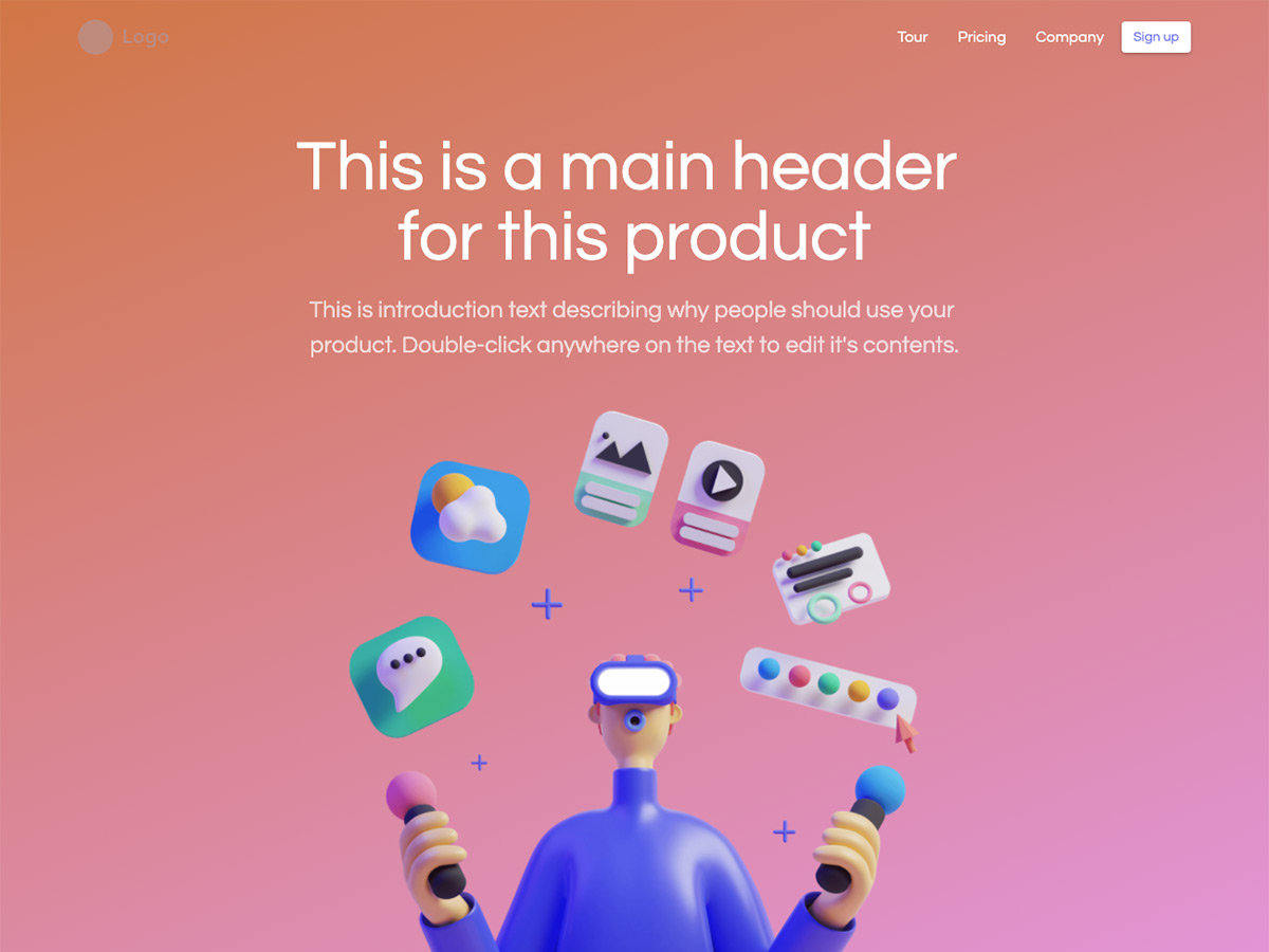 Polygon Makeswift startup template home hero