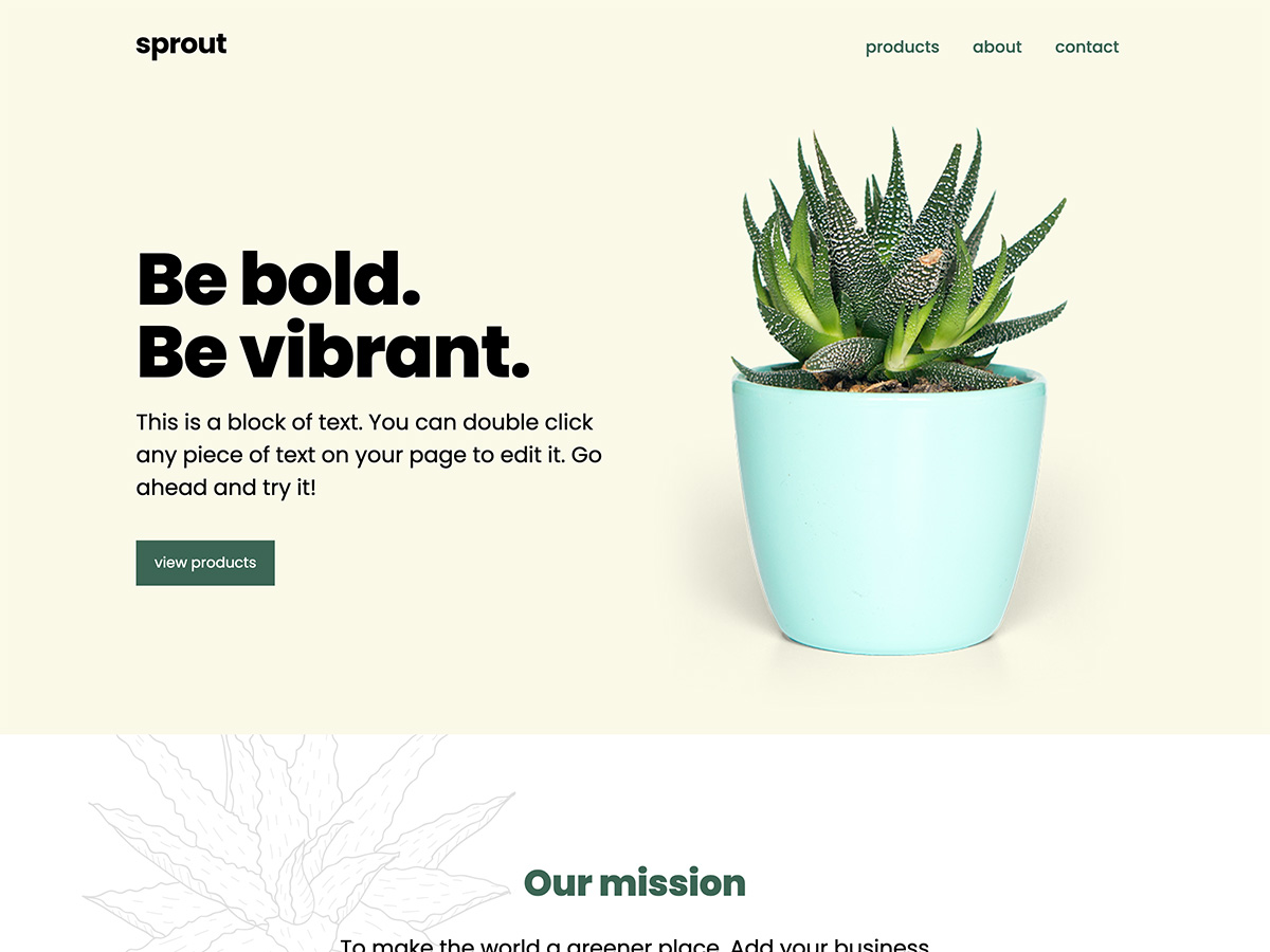 Sprout Makeswift business template home hero