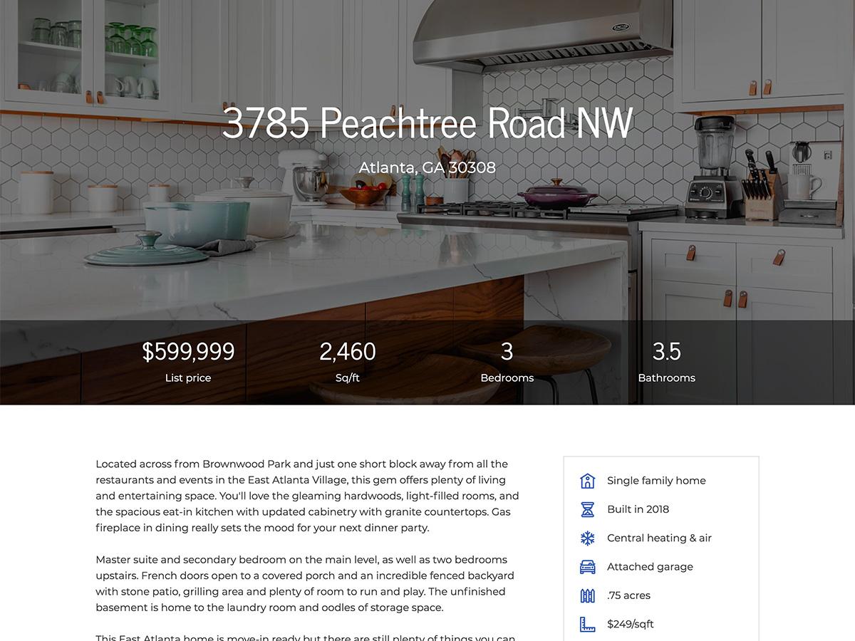 Makeswift Estate Real Estate template listing information