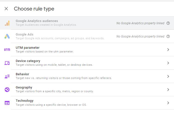 Choose rule type screen