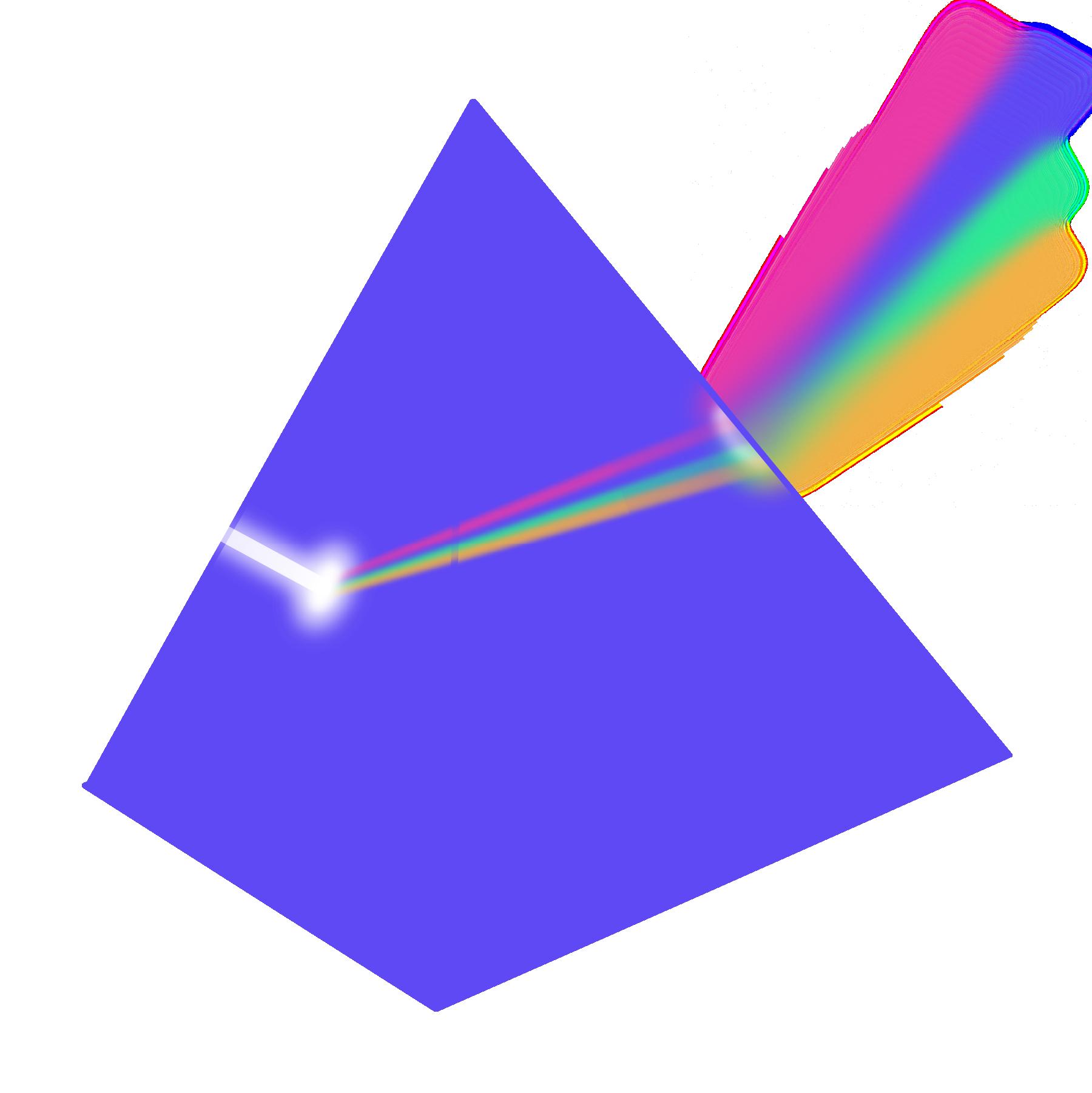 Prism filtering light