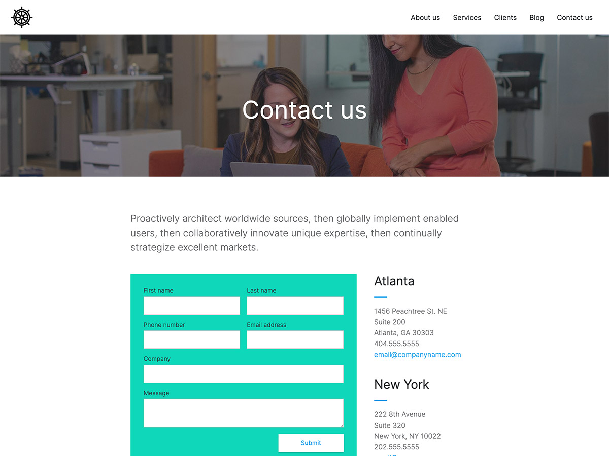 Benchmark Makeswift agency template contact form and information