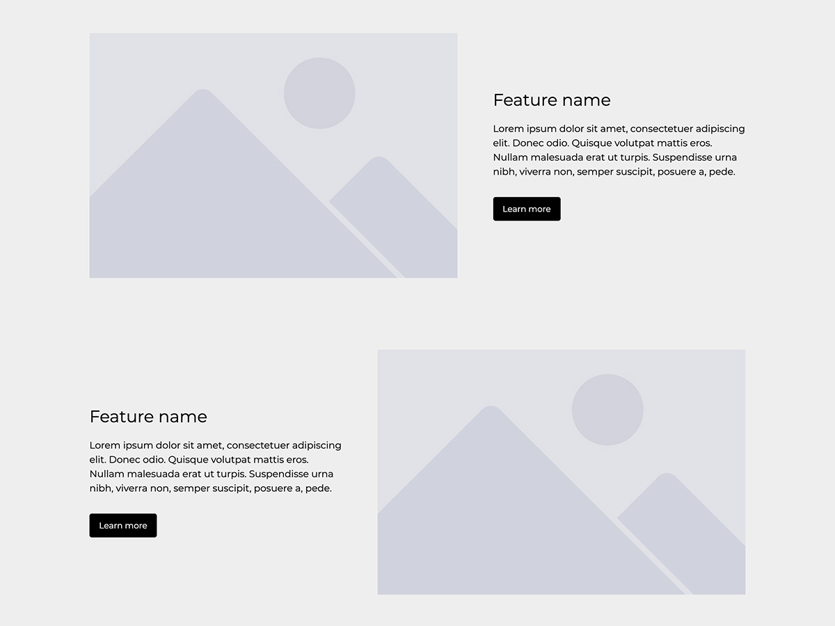 Wireframe Makeswift blank template features