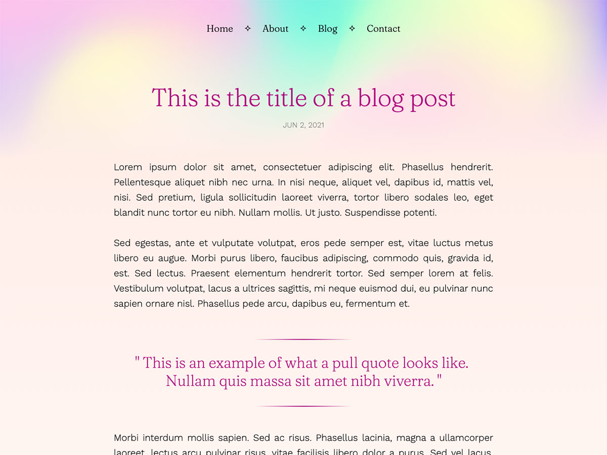 Glimmer Makeswift personal template blog post
