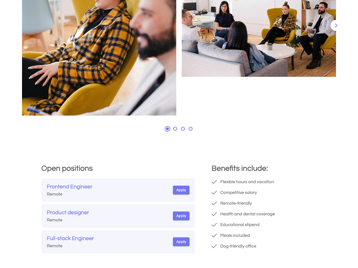 Polygon Makeswift startup template team photos and job openings