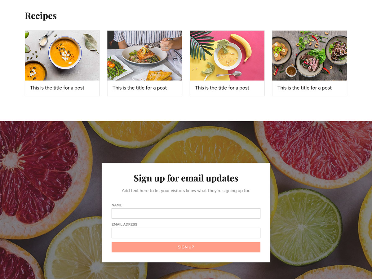 Foodie Makeswift business template recipes and subscribe form