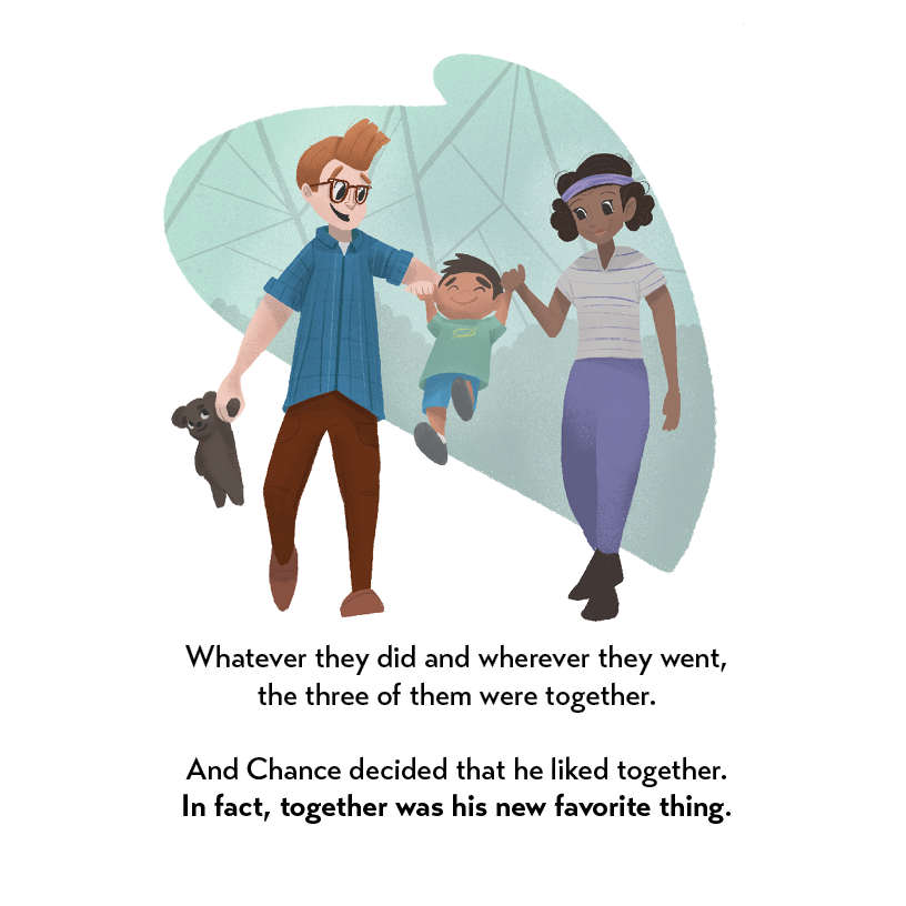 The Polaris-Away book preview showing dad, Chance, and mom