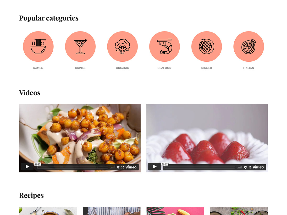 Foodie Makeswift business template categories and videos