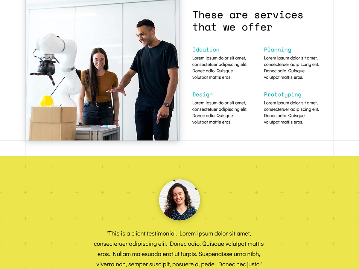 Makeswift Innovation business template home services and testimonial