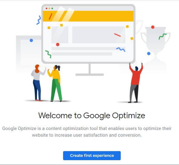 Google Optimize home screen