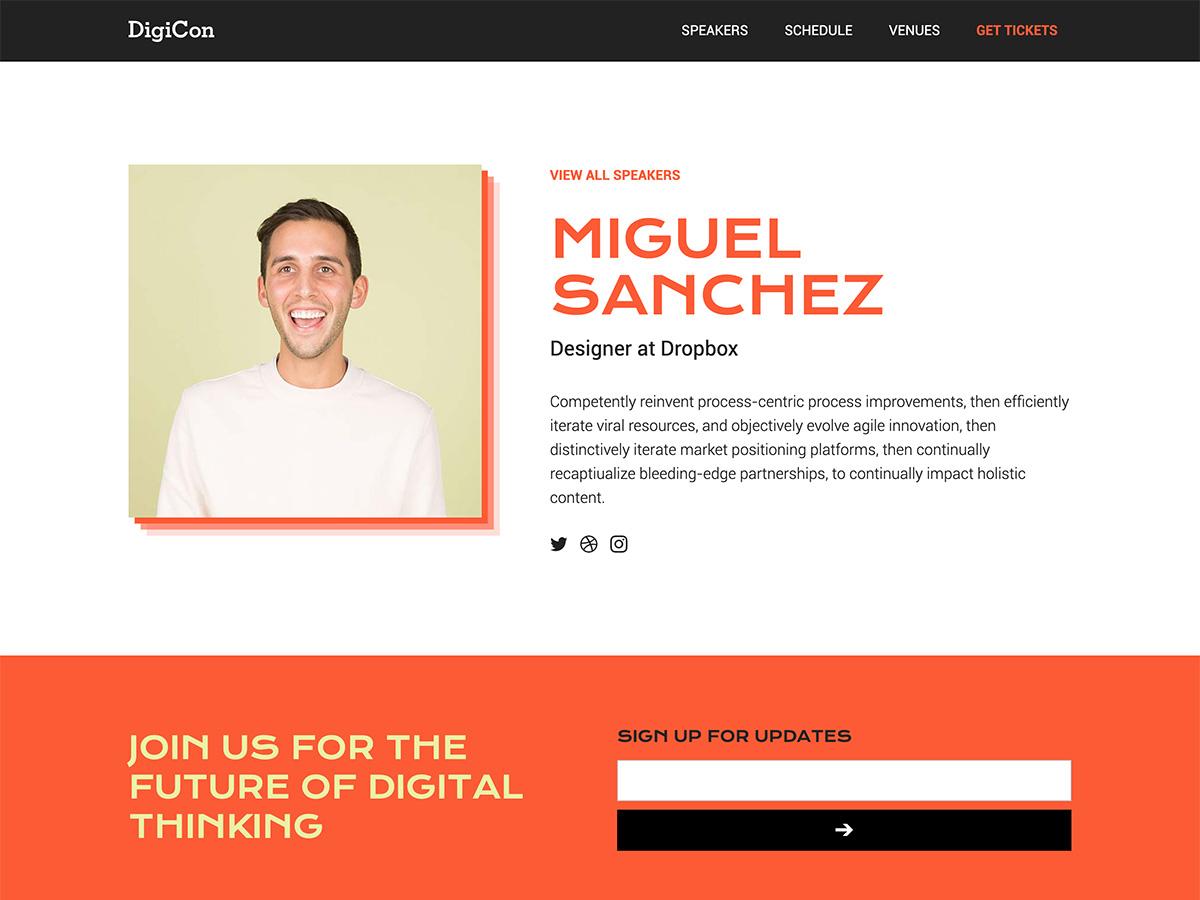Makeswift Digicon template speaker bio