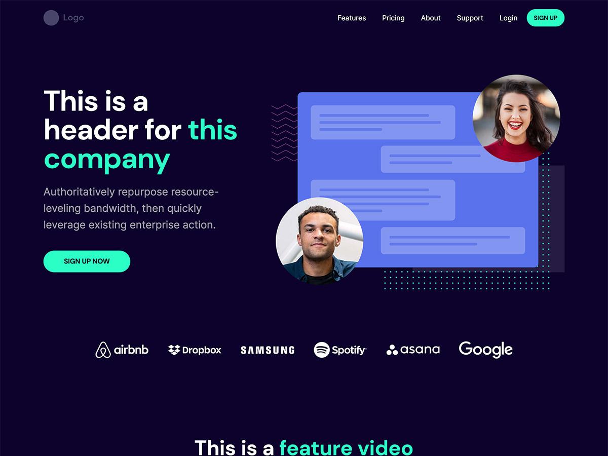 Venture Makeswift startup template home hero